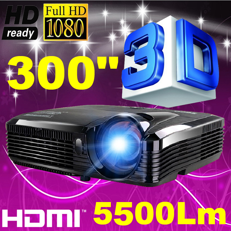 5500ANSI lumens 300inch Home Theater Outdoor Daylight Rear DLP 3D Cinema 1080P Video Projector holographic projector - WZSZBH store