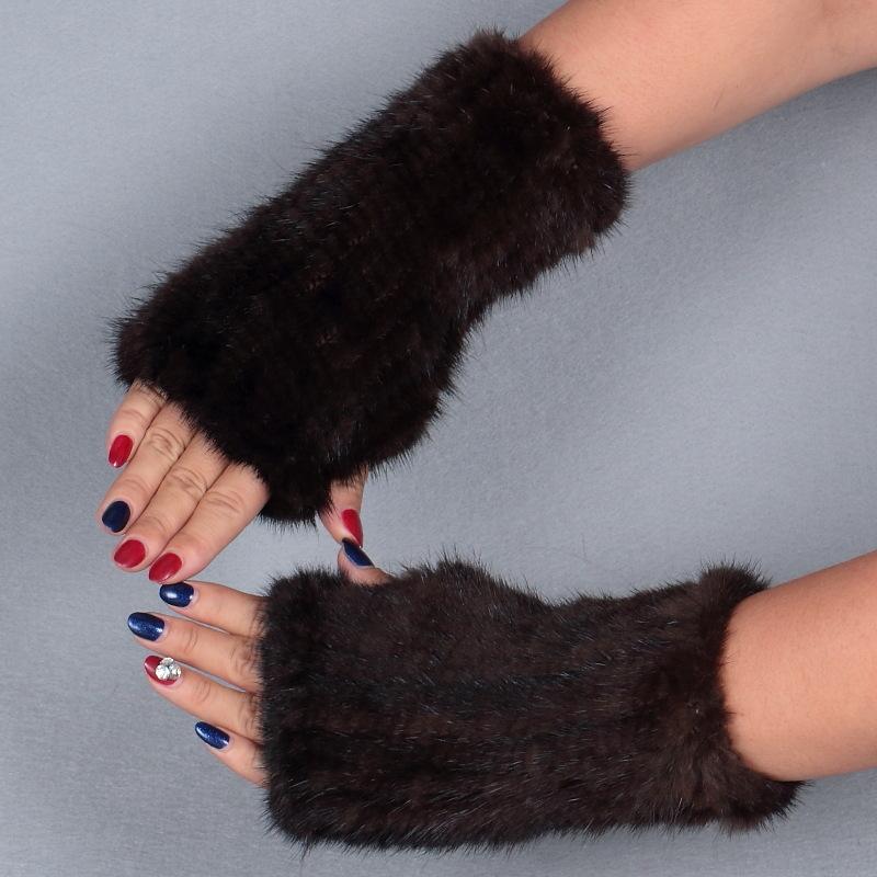 mink fur gloves brown 1