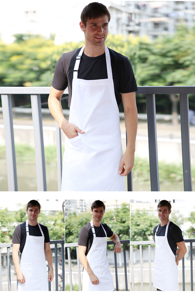 White apron in store - White Custom Apron Working Uniform With Customized Logo Printing For Coffee Shop Restaurant Uniform