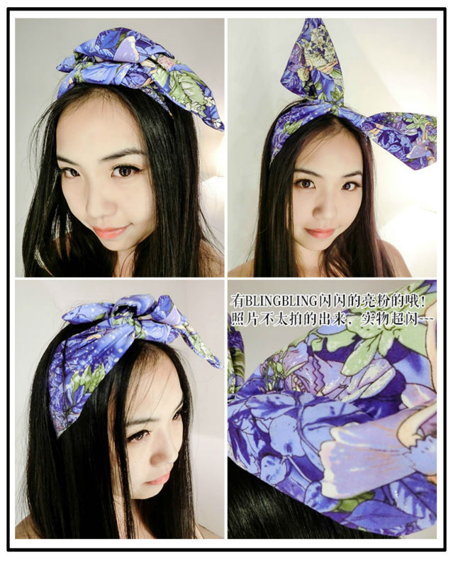 Vintage 1950s Women Pin Up Headband Purple Elves Print Head Bands Hair Wrap Scarf Bands Wire Wide Bowknot Rabbit Ear Accessories(China (Mainland))