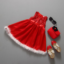 2015 New Baby Girls Christmas Dress Bow Boutique Red Kids Christmas Clothes Set Bow  Dot Girls Winter Clothes 2-6 Years Old