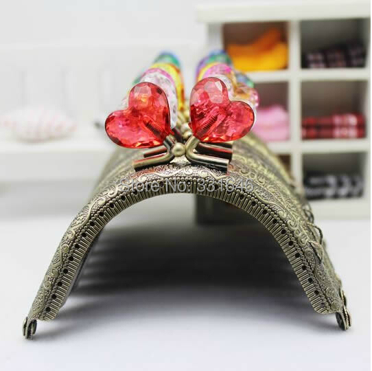 8.5cm,10PCS/lot Retro Bronze Embossed Star Crystal Head Metal Coin Purse Frame Handle With Kiss Clasp DIY for Bag Clutch(China (Mainland))