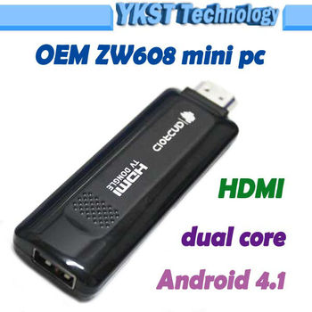 First Low energy ZW608 Nufront dual core android 4.1 Mini pc cortex-a9 1.2GHz HDMI TV box can use android phone remote control