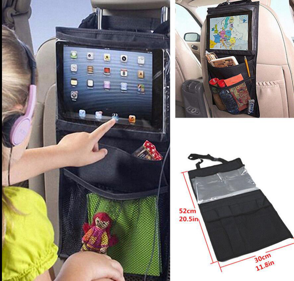 car organizer child car ipad hanging transparent bag gift elastic mesh bags portable car bag back seat organizer toy storage(China (Mainland))