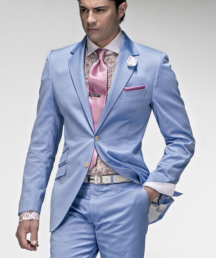 This is a gorgeous and quite unique light blue tuxedo paired with matching pants, vest, and your choice of matching tie. Stand out from the crowd at prom, your next formal event, or a Halloween party!