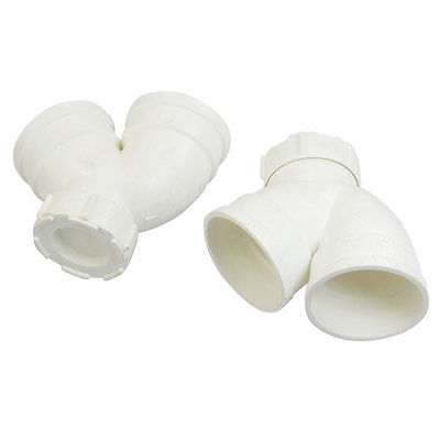 PVC-U 50mm Drainage Pipe Adapter Bend PVC Connector White 2 Pieces ZMM(China (Mainland))
