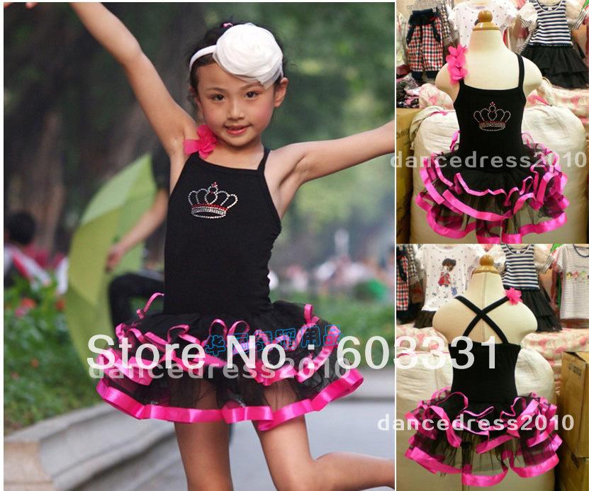 Girls Fairy Birthday Party Ballet Tutu Dance Leotard Skirt /Child wear Costume Dress Black Red 5-8Y - dance dress store