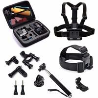 go pro kit Gopro accessories set mount for SJ4000 gopro hero 4 3 2 1 Black Edition SJCAM SJ5000 camera case xiaoyi chest tripod