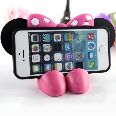 iphone 5 5s 3D Cute Minnie Mouse Bow Silicone Case Cover Stand 5g Soft Rubber Cell Phone Bag - Shell's home store