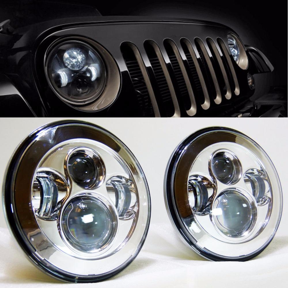 "2PCS OSRAM 7"" 40W LED Projector Headlight for Jee-p CJ / Wrangler JK Led Driving Light For Land Rover Defender H4 H13 Headlights(China (Mainland))"