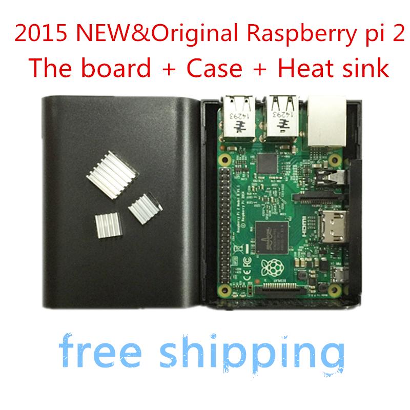 In stock 2015 New and Original Raspberry Pi 2 Model B raspberry pi 2 board + case + heat sink raspberry pi packgage(China (Mainland))