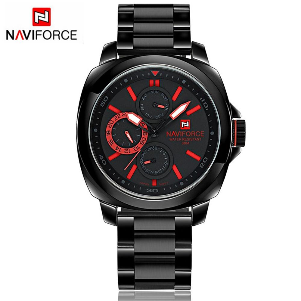 2016 Mens Watch NAVIFORCE Luxury Brand Fashion Sports Watches Men Dive 30M Full Stainless Steel Quartz-watch relogio masculino<br><br>Aliexpress