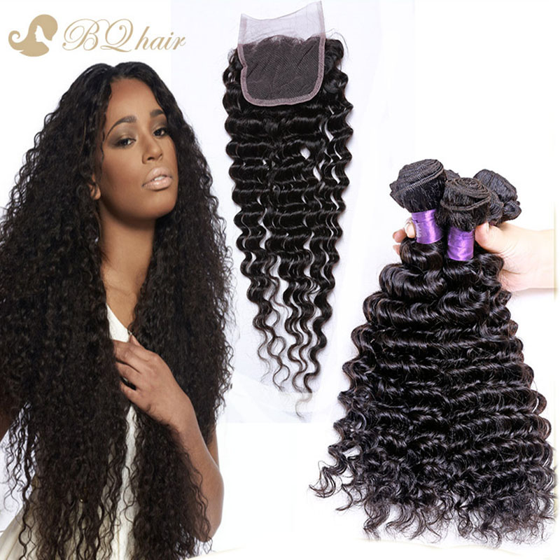 8A Peruvian deep wave With Closure Unprocessed Virgin Hair Lace Closure With 3 hair Bundles cheap human hair weaves with closure<br><br>Aliexpress