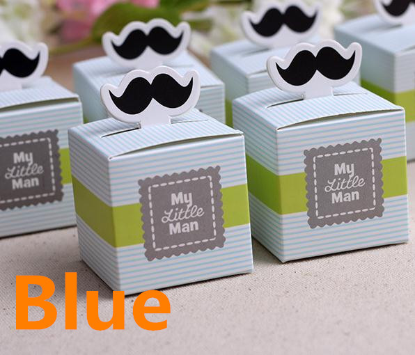 20pcs Stripe My little Man Cute Mustache Pattern Baby Shower Candy Box Birthday Party Supply Chocolate