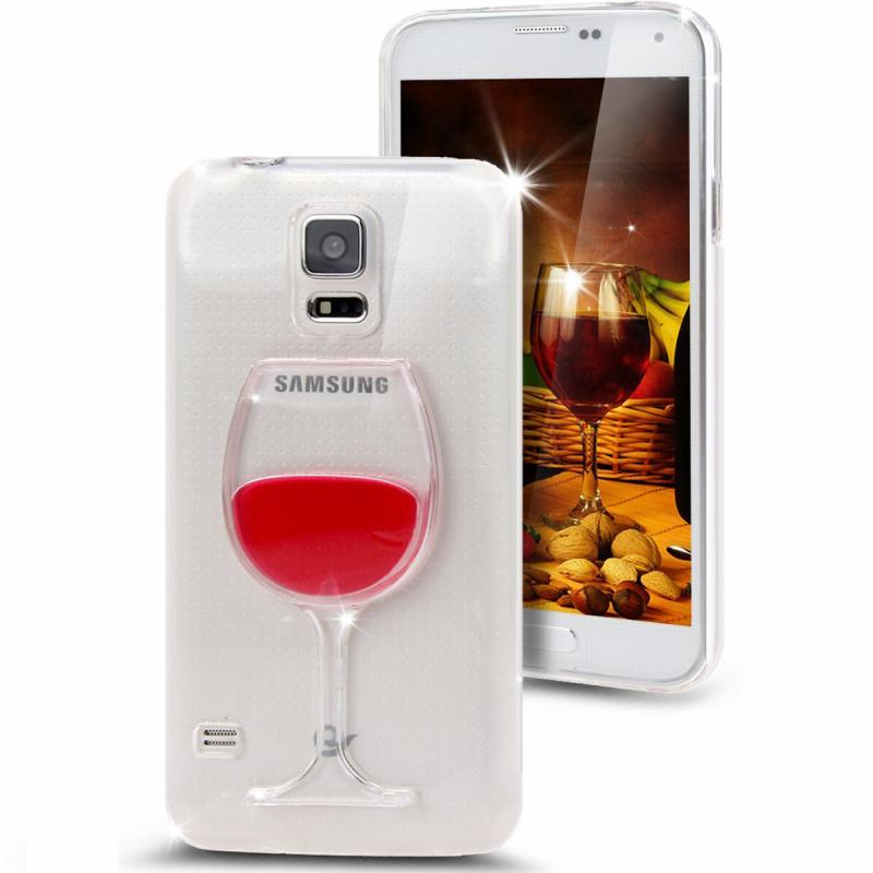 Newest 3D Liquid Cocktail Bottle Flow Red Wine soft Clear For samsung Galaxy S5 Flowing Liquid Fundas Coque Free Shipping