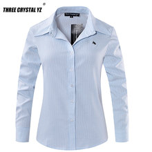 Buy Women Shirt 2017 New Spring Classic Long Sleeve Horse Embroidery 100% Cotton Office Ladies Blouses Stripes Loose Tops Formal for $13.16 in AliExpress store