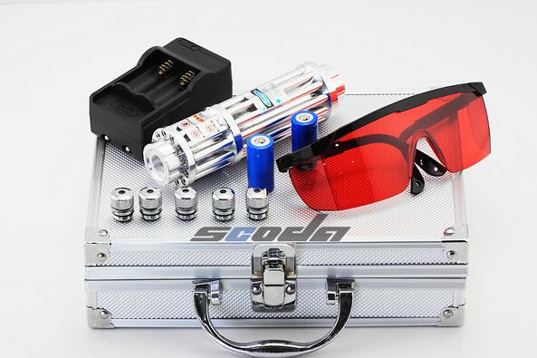 High power blue laser pointers 50000mw 50W 532nm burn match balloon dry wood/burn cigarettes+5 caps+glasses+charger+gift box(China (Mainland))