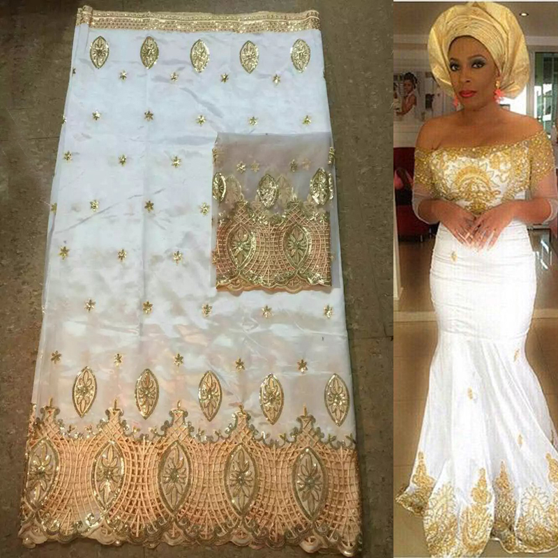 white and gold 5yards African george fabric + 2yards French net lace sets high quality for making fashion dress GLT30(China (Mainland))