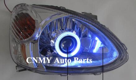 Hi/Low Beam Bi-Xenon Projector lens HID lights CCFL Angel eyes for 2003 2004 2005 Toyota Echo / Platz / Yaris XP10 series(China (Mainland))