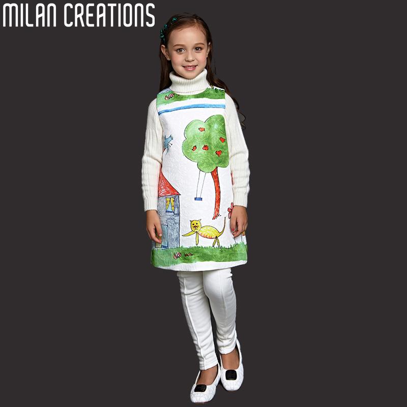 Girl Dress Princess Costume 2016 Brand Children Girls Clothes Character Print Kids Designer Toddler Dresses - Milan Creations Flagship(Fashion Paradise store)