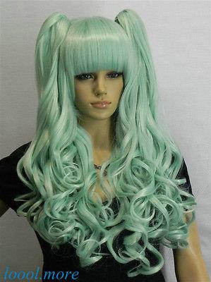 Excellent Lolita Light blue Mix Long Wavy bangs Split Cosplay Wig for women wig perruque parrucca<br><br>Aliexpress