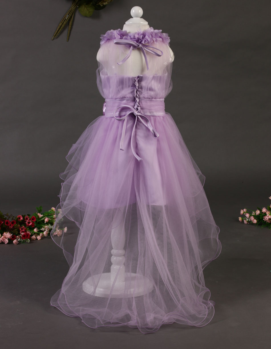 2015 new girls dresses elegant lavender flowers gauze long paragraph trailing kids - Every day fortune store