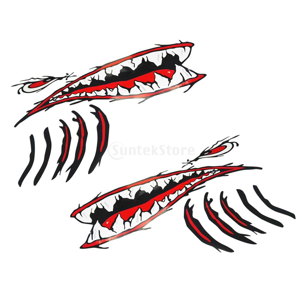 2Pcs Large Vinyl Shark Teeth Mouth Eyes Gill Sticker Decals Kayak Boat Fishing Dinghy Motorcycle Car Bumper Graphics Accessories