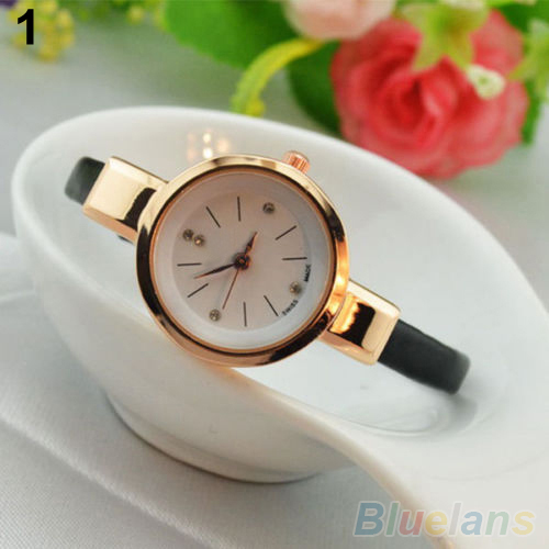 Women Ladies Candy Color Fashion Thin Leather Strap Quartz Bracelet Wrist Watch 2K8F - All the best and beautiful store