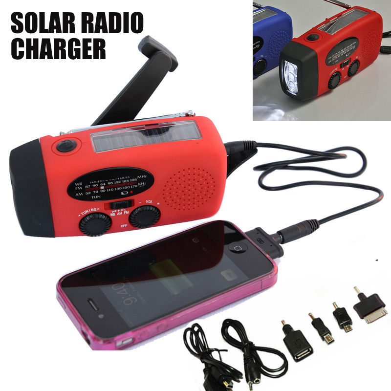 New Solar Dynamo Powered Radio Hand Crank AM/FM 3 LED Flashlight Phone Charger power cords for cell phones Free Shipping C10(China (Mainland))