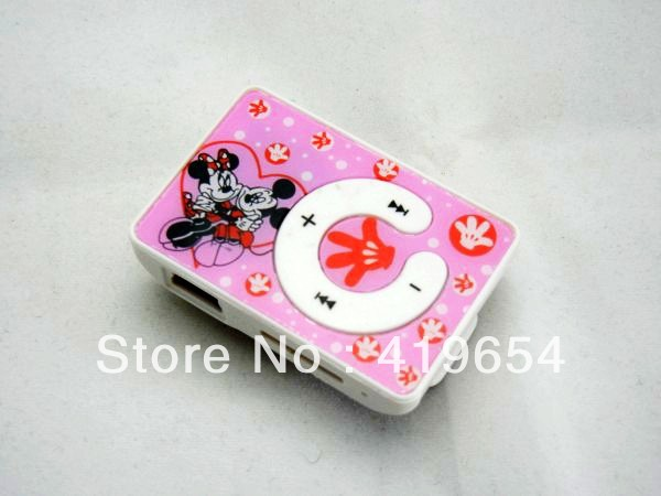 Mickey Mouse Mini Clip MP3 Player / Cheap Price Cartoon MP3 Player Support TF Micro SD Card Max 8GB With Earphone USB Cable(China (Mainland))