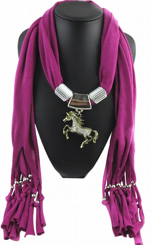Fashion Solid Color Alloy Horse Pendant Necklace Scarves Charm Jewelry Scarf Pashmina Shawl Wraps Women Factory Supply - Shenzhen Sundah Tech Co., Ltd.(Craft & Gift Dept. store)