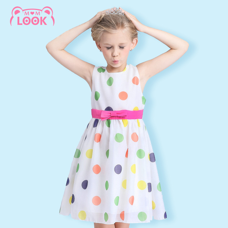 2016 New Girls Summer Dot Dress Childrens Clothes Party Dresses Bowknot Sleeveless Princess Kids Baby Clothing 110-150CM(China (Mainland))