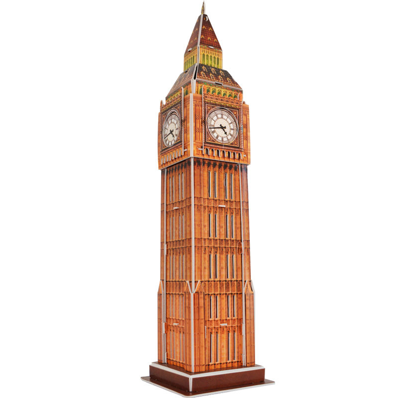 Educational toy 1pc creative the United Kingdom Big Ben 3D paper DIY jigsaw puzzle famous model building kits children gift toy(China (Mainland))