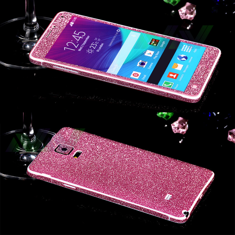 Hot Sellig Full Body Glitter for samsung note4 Shiny Phone Sticker Matte Screen Protector Sparkling Diamond Film(China (Mainland))
