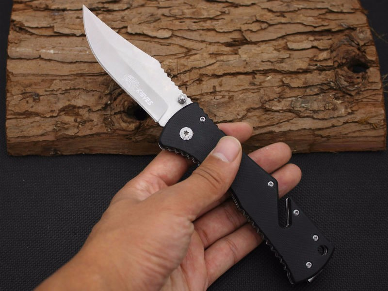 Buy Hot Survival Knife 5CR13MOV Steel Blade SR Pocket Folding Knifes Hunting Tactical Knives Camping Outdoor EDC Tools y46 cheap