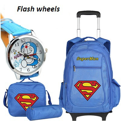 Super Man Children School Bags Trolley Backpacks Boys Kids Luggage Bag Wheels Backpack Men bolsas mochila infantil - Bag's Heaven store