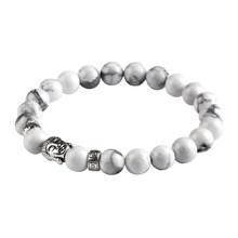 Moda jóias lava pedra cor de prata buda charme pulseira tigre olho contas pulseiras para mulher e masculino mujer pulseras pd26(China)