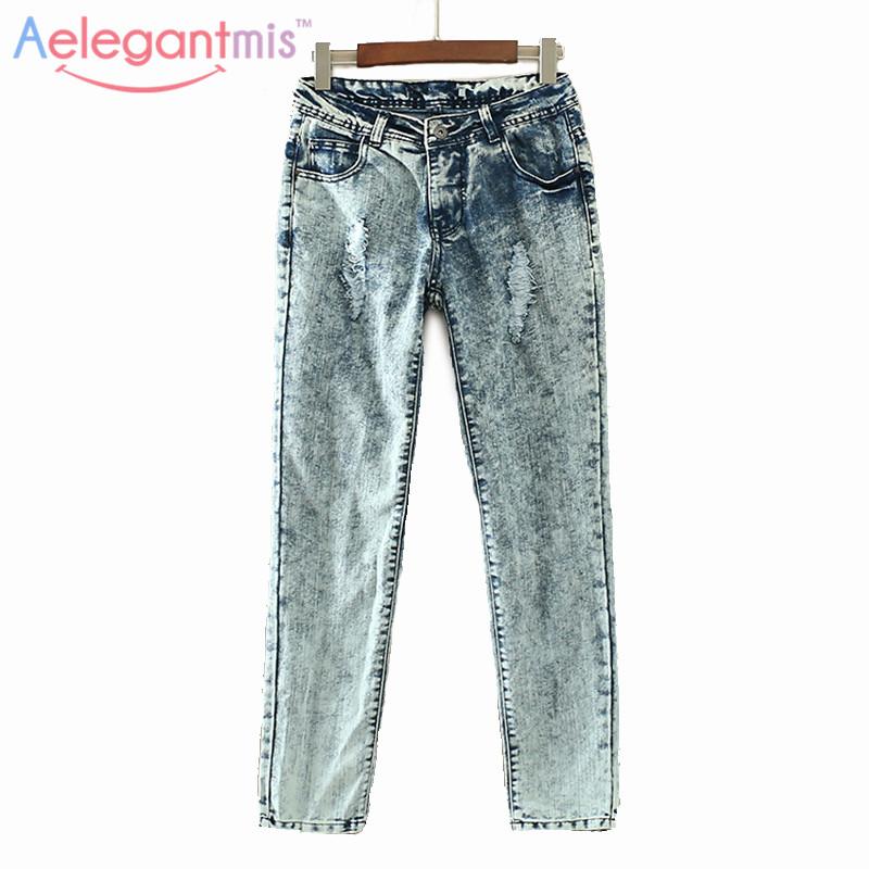 Special Offer Aelegantmis Vintage Hole Jeans Women Casual Mid Waist Retro Ripped Boyfriend Jeans Denim Pants Female Trousers