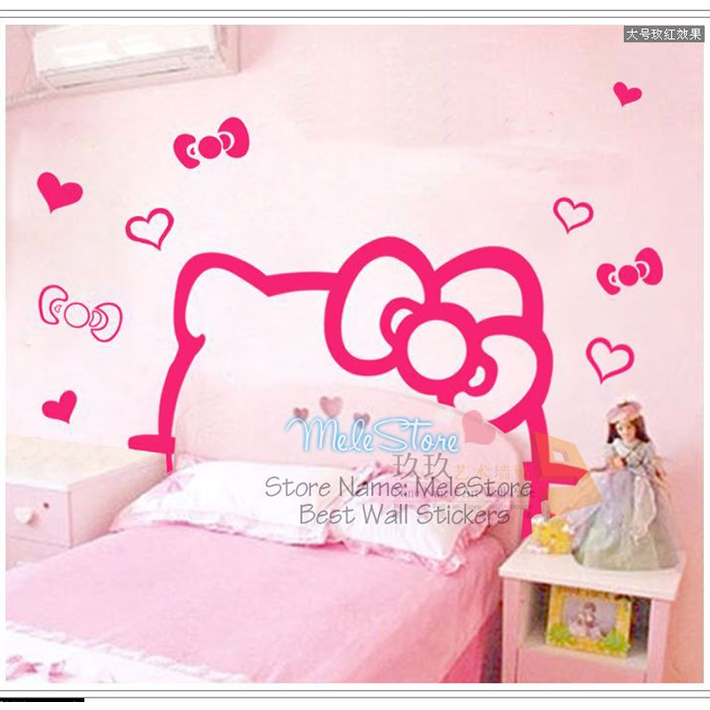Hello kitty diy wall stickers kids room decor home bedroom home decoration accessories girl for Decoration hello kitty chambre