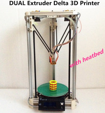 High quality Dual Extruder 3D Printer Kit diy Support more than 8 Materials New Upgraded Delta 3d printer with heatbed