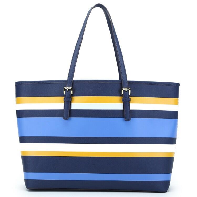 Fashion fringe shoulder bags high quality PU leather bag for women designer casual stripe big totes shopping handbag sac femme(China (Mainland))