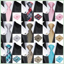 SN-467 Men's 100% Jacquard Woven Silk Neckties Tie handkerchief Cufflinks Sets for men Formal Wedding Party Groom Free Shipping