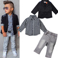 2016 new England fashion casual plaid shirt jeans jacket suits baby boy toddler clothing sets