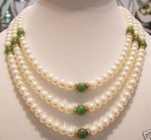 3row 7-8 mm freshwater pearl and green jade necklace 14k gold plated Fine women jewelry free shipping(China (Mainland))