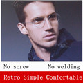 The New Retro glasses oval shaped glasses frame Creative Screwless Optical spectacle frame Business eyeglasses Ultra