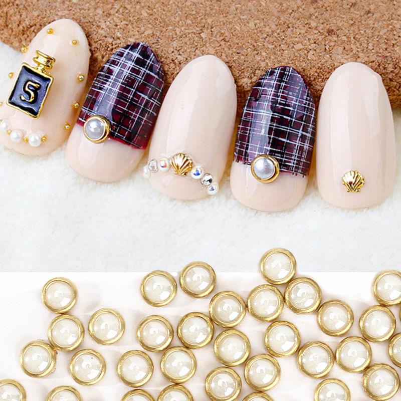 Perfect Summer 3d Nail Art Pearl Rhinestones 4mm Tool Metal Studs Peal Charm Craft DIY Manicure Decorations - Store store