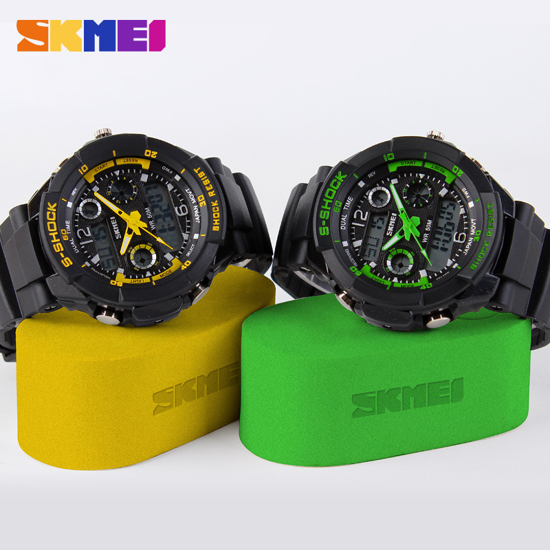 S Shock Mens Military Watch For Men Sport Watch 2times Zone Backlight Quartz Chronograph Jelly Silicone