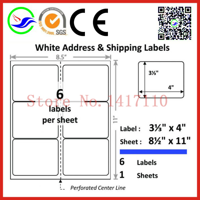 3000 Labels (500 sheets)Avery Compatible 5164 white Matte self-adhesive label sticker A4 label paper for laser/inkjet printer(China (Mainland))