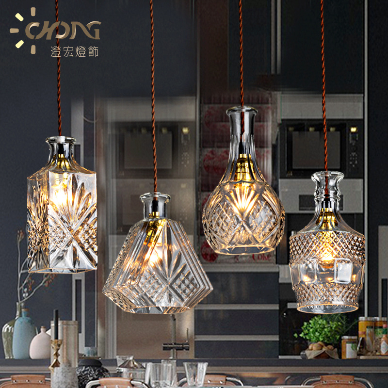 Crystal Glass Pendant Lights Creative Dining Room Bar Table Coffee Shop Simple Personality Bottle Lamp - suixi Store store