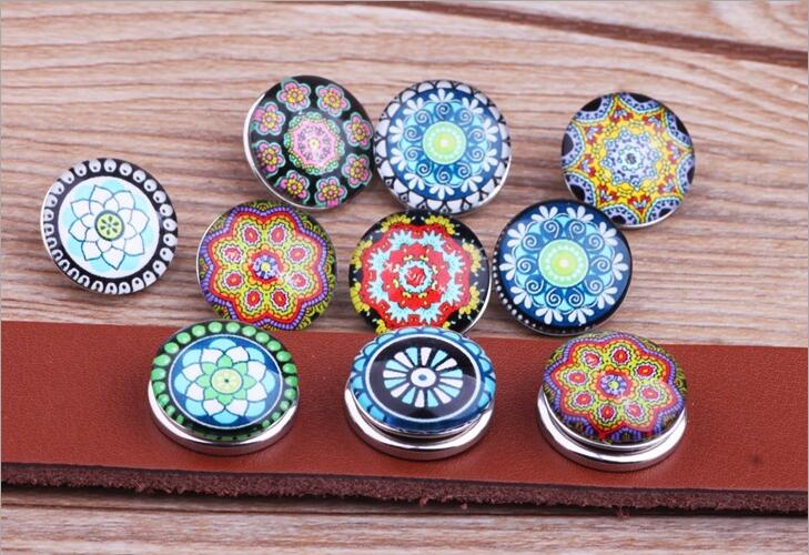 JACK88 NEW Mixed Style 100pcs/lot Flowers Snaps 18 mm Glass Snap Button Fit Ginger Snap Charm Bracelet  Snap Button Jewelry N897<br><br>Aliexpress